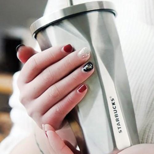 Металлический стакан Starbucks Silver с крышкой и трубочкой-4