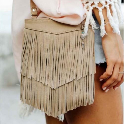 Кожаная сумка мини-кроссбоди Fleco Крем брюле