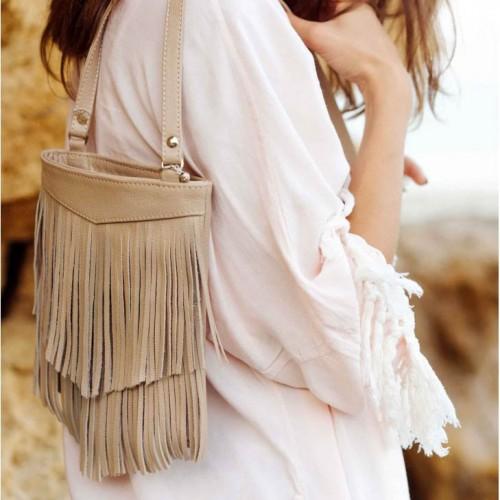 Кожаная сумка мини-кроссбоди Fleco Крем брюле-4