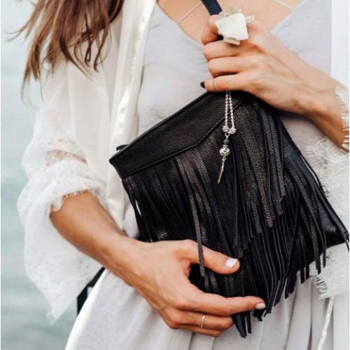 Кожаная сумка мини-кроссбоди Fleco Оникс