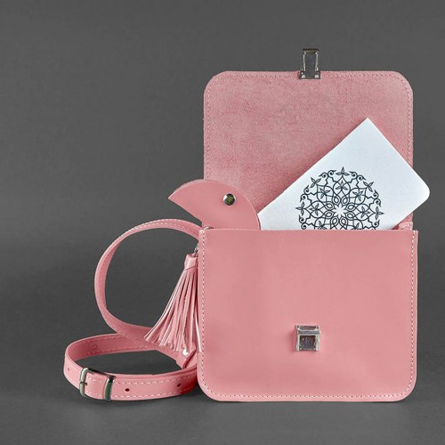"""Кожаная бохо-сумка """"Лилу"""" Розовый персик-4"""