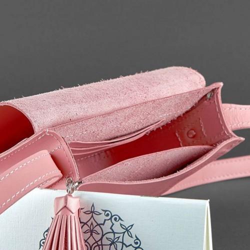 """Кожаная бохо-сумка """"Лилу"""" Розовый персик-2"""