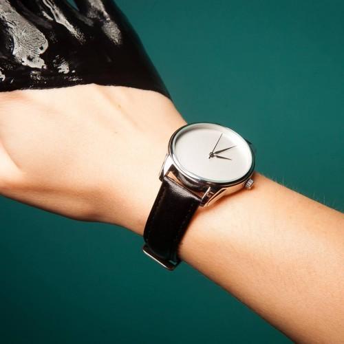 Часы наручные Минимализм Угольно-черный Серебро + дополнительный ремешок-3