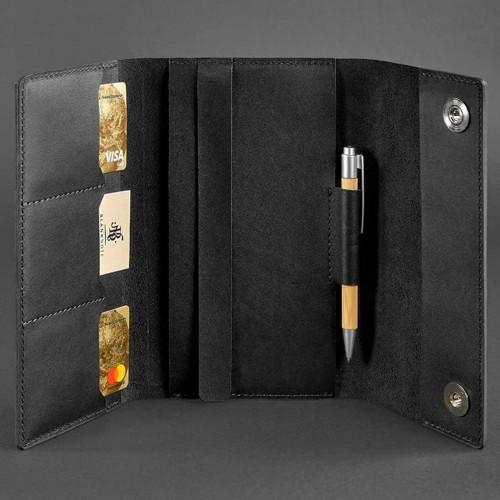 Кожаный блокнот софтбук 5.0 Графит Crazy Horse-3