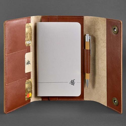 Кожаный блокнот софтбук 5.0 Коньяк Krast-4
