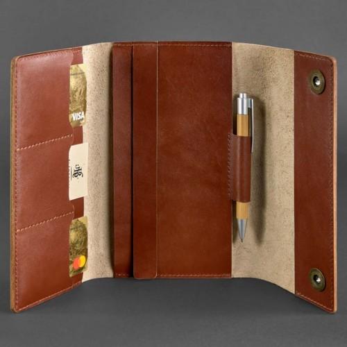 Кожаный блокнот софтбук 5.0 Коньяк Krast-3
