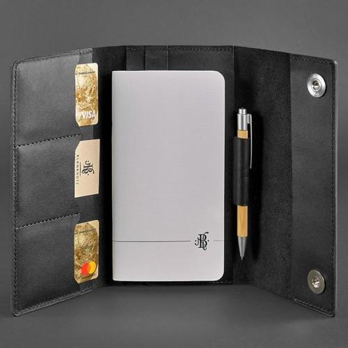 Кожаный блокнот софтбук 5.1 Графит Krast-3