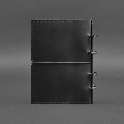 Кожаный блокнот на кольцах 9.0 в мягкой обложке Графит-3