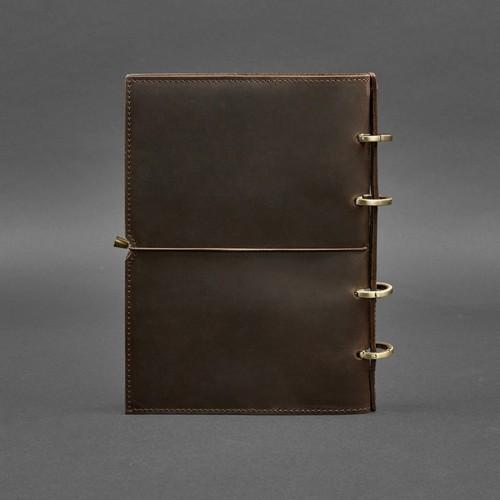 Кожаный блокнот на кольцах 9.0 в мягкой обложке Орех-3