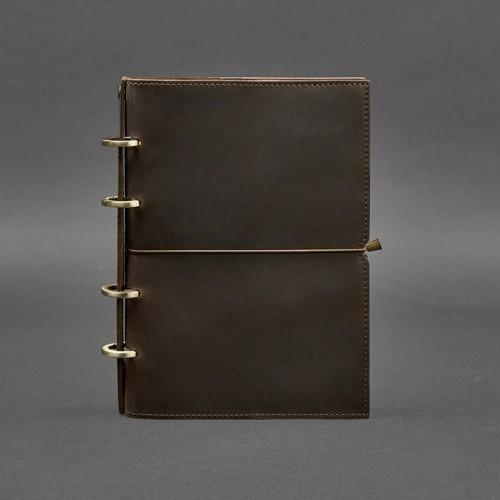 Кожаный блокнот на кольцах 9.0 в мягкой обложке Орех-1