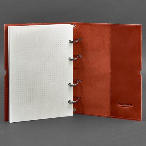 Кожаный блокнот на кольцах 9.0 в мягкой обложке Коралл -3