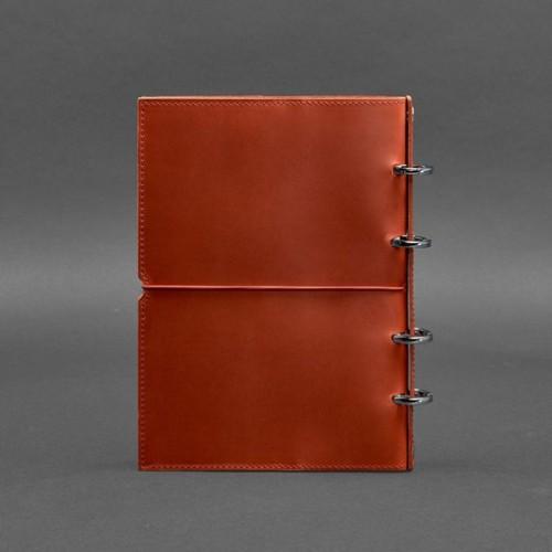 Кожаный блокнот на кольцах 9.0 в мягкой обложке Коралл -2