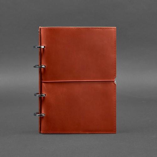 Кожаный блокнот на кольцах 9.0 в мягкой обложке Коралл -1