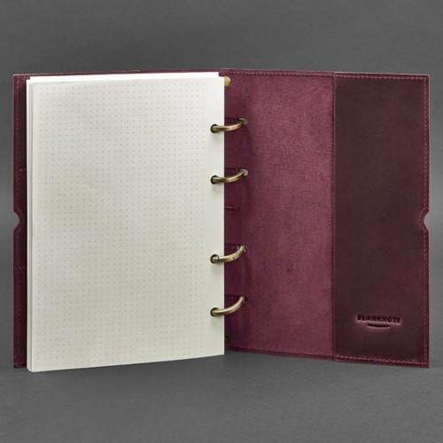Кожаный блокнот на кольцах 9.0 в мягкой обложке Виноград-5