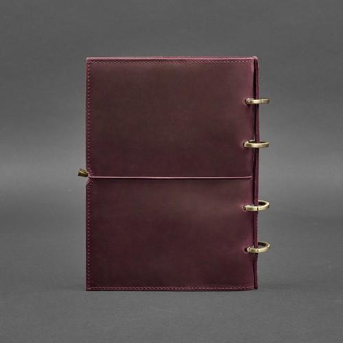 Кожаный блокнот на кольцах 9.0 в мягкой обложке Виноград-2