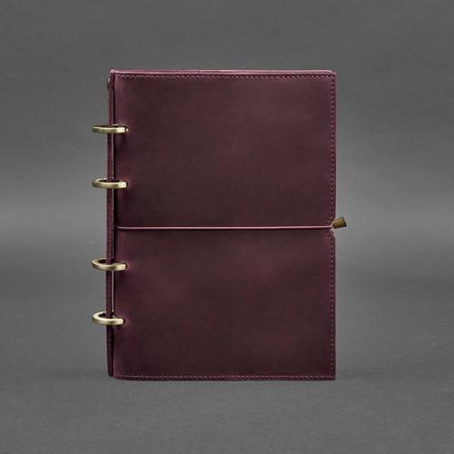 Кожаный блокнот на кольцах 9.0 в мягкой обложке Виноград-1
