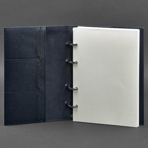 Кожаный блокнот на кольцах 9.0 в твердой обложке Синий-3