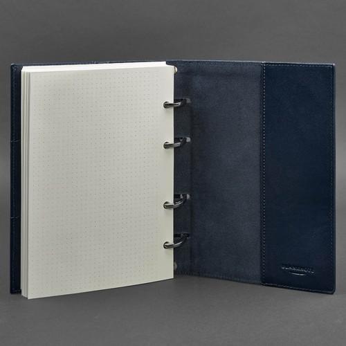 Кожаный блокнот на кольцах 9.0 в твердой обложке Синий-4