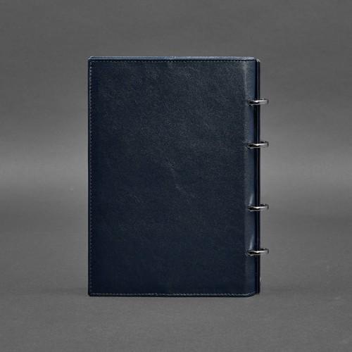 Кожаный блокнот на кольцах 9.0 в твердой обложке Синий-2