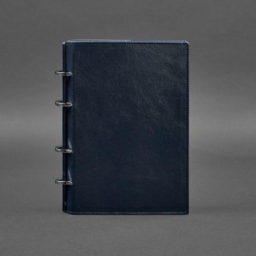 Кожаный блокнот на кольцах 9.0 в твердой обложке Синий-1