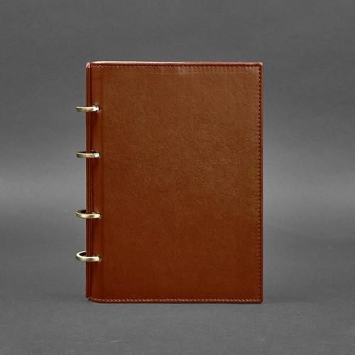 Кожаный блокнот на кольцах 9.0 в твердой обложке Коньяк-1