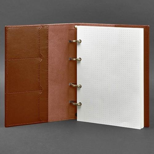 Кожаный блокнот на кольцах 9.0 в твердой обложке Коньяк-2