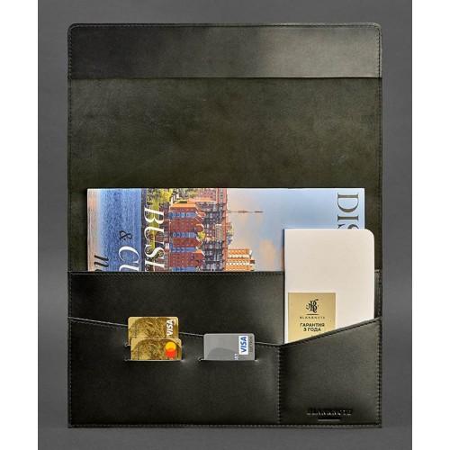 Кожаная папка для документов А4 на магнитах Графит - Черная-2