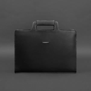 Деловая кожаная сумка для ноутбука и документов Графит (Черная)-1