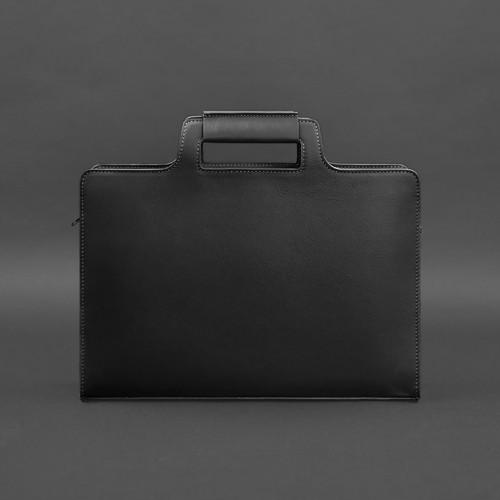 Деловая кожаная сумка для ноутбука и документов Графит (Черная)-2