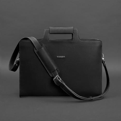 Деловая кожаная сумка для ноутбука и документов Графит (Черная)-3