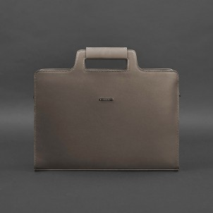 Деловая кожаная сумка для ноутбука и документов Мокко (Бежевая)-1