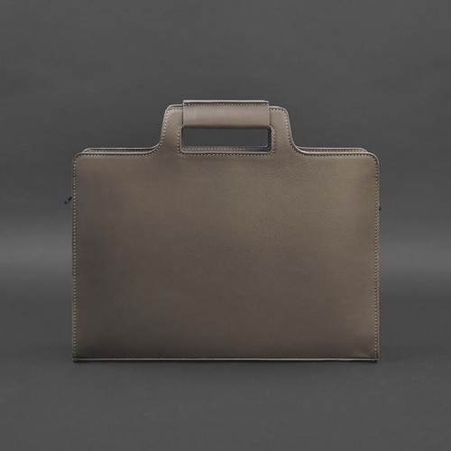 Деловая кожаная сумка для ноутбука и документов Мокко (Бежевая)-4