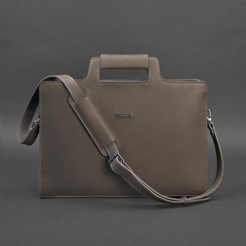 Деловая кожаная сумка для ноутбука и документов Мокко (Бежевая)-3