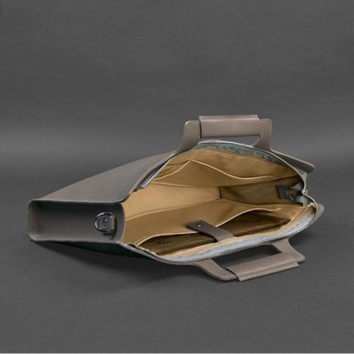 Деловая кожаная сумка для ноутбука и документов Мокко (Бежевая)-2