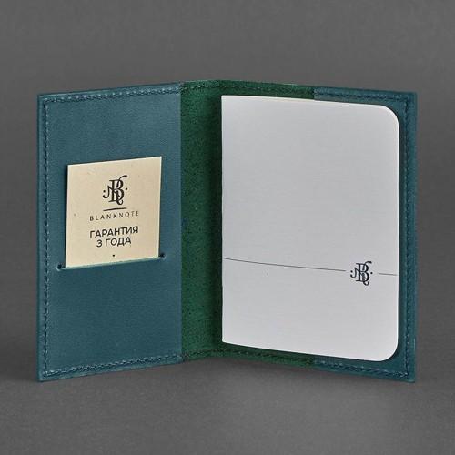 Кожаная обложка на паспорт 1.2 Малахит-3