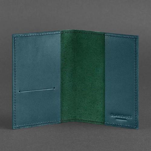 Кожаная обложка на паспорт 1.2 Малахит-2