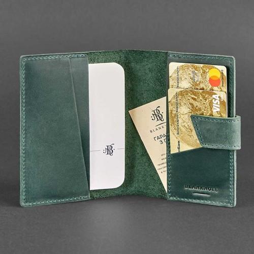 Кожаная обложка на паспорт 4.0 Изумруд-4