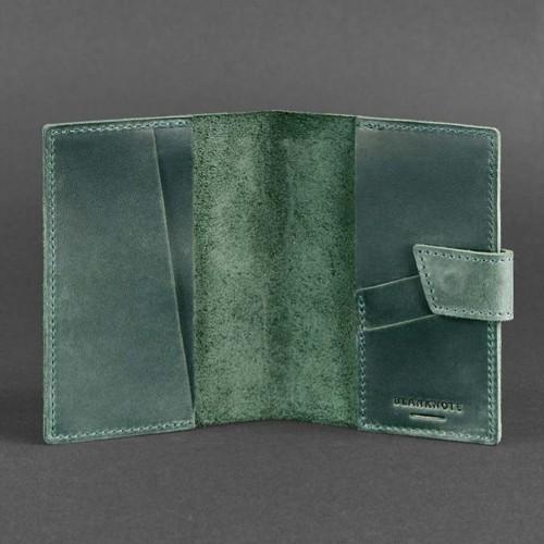 Кожаная обложка на паспорт 4.0 Изумруд-3