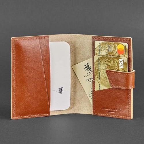 Кожаная обложка на паспорт 4.0 Коньяк-4