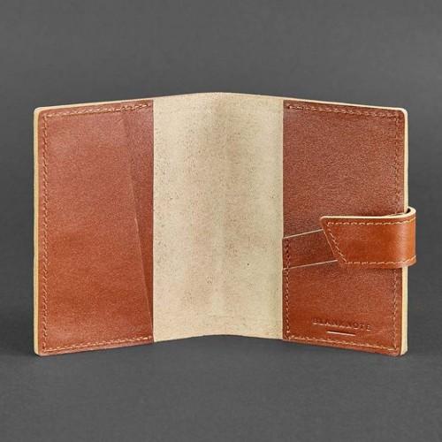 Кожаная обложка на паспорт 4.0 Коньяк-3