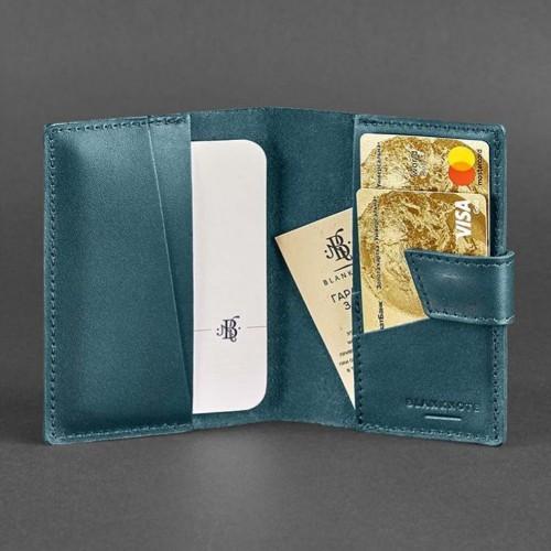 Кожаная обложка на паспорт 4.0 Малахит-2