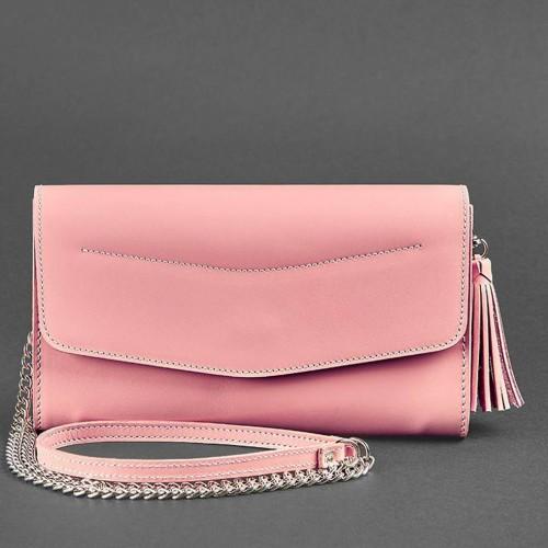 """Кожаная сумочка """"Элис"""" Розовый персик-4"""