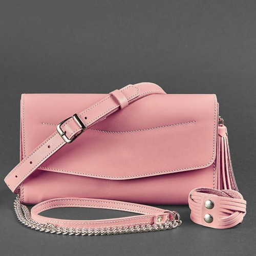 """Кожаная сумочка """"Элис"""" Розовый персик-5"""