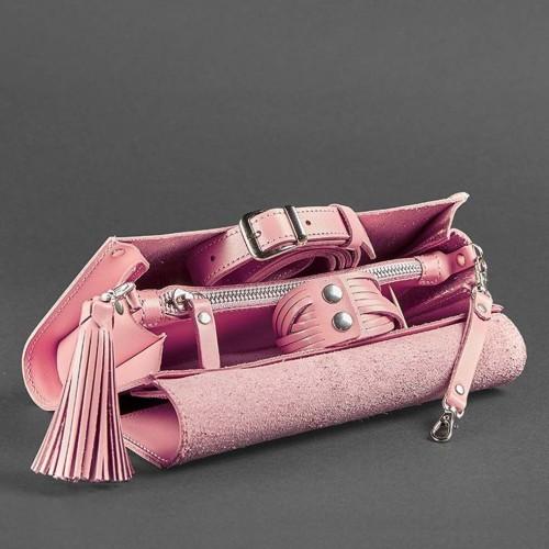 """Кожаная сумочка """"Элис"""" Розовый персик-6"""