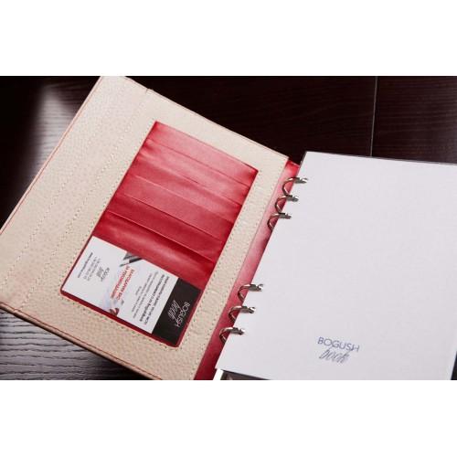 Кожаный блокнот-органайзер на кольцах BogushBook Престиж Монро-6