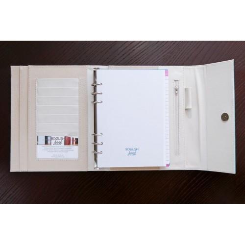 Кожаный блокнот-органайзер на кольцах BogushBook Престиж Тиффани-2