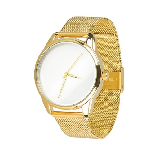 """Часы """"Минимализм"""" с золотистым металлическим браслетом"""
