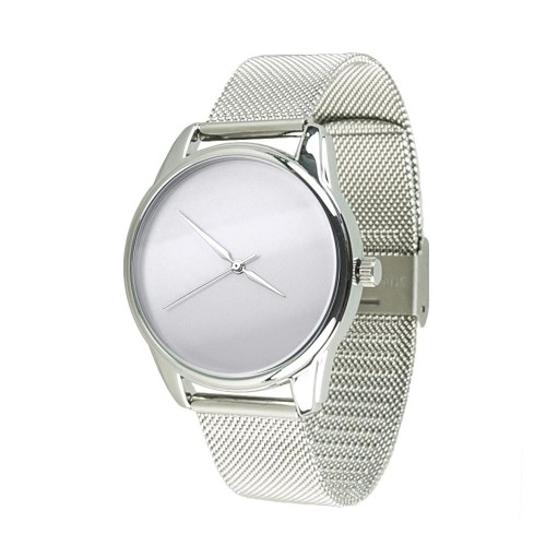 """Часы """"Минимализм"""" Silver с серебристым металлическим браслетом"""