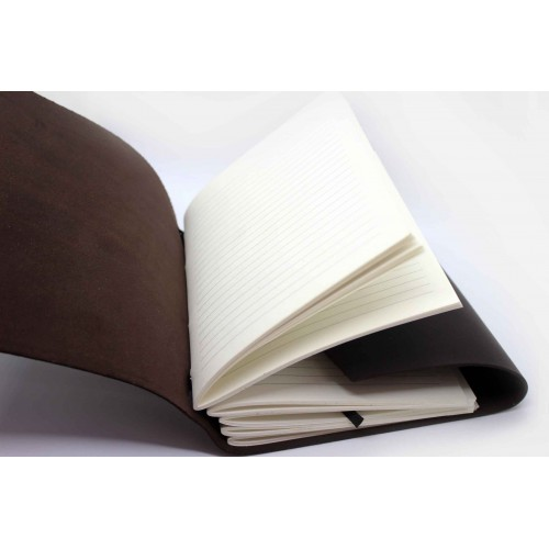 Кожаный блокнот формата A5 Comfy Strap Dark Brown в коробочке-3