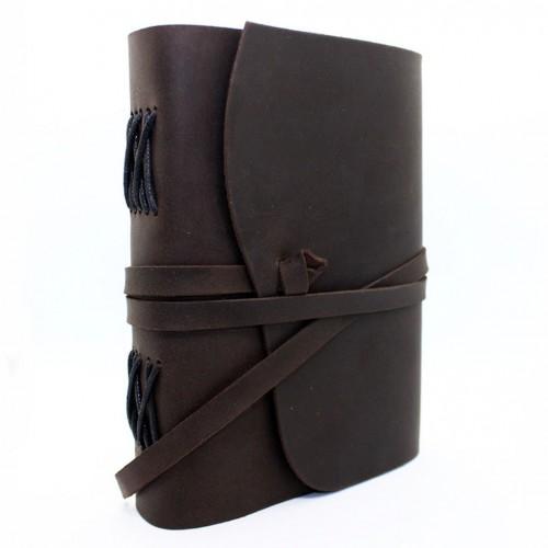 Кожаный блокнот формата A5 Comfy Strap Dark Brown в коробочке-6